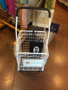 """Our """"prototype"""" shopping cart in the student grocery market."""