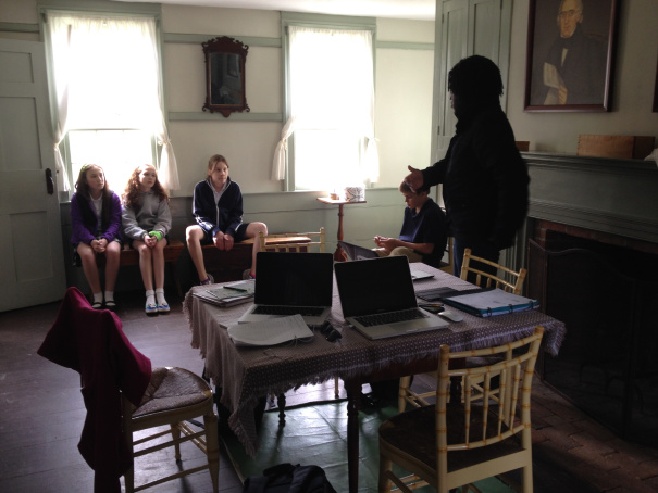 Talking with students at the the museum.